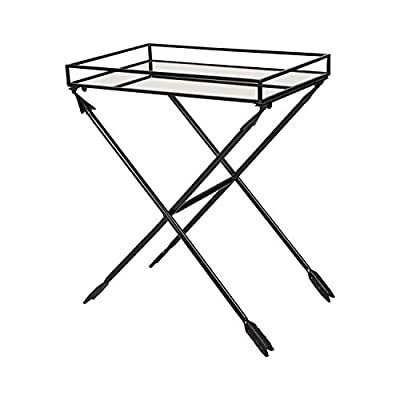 Kate and Laurel Madeira Arrow Metal Accent Table with Mirrored Tray Top, Gold -  - living-room-furniture, living-room, end-tables - 41zlqbgS%2B2L. SS400  -