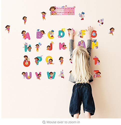 Leguliya Wall Sticker Baby Cartoon Dora Children Bedroom Decor Alphabet Wall Stickers for Kids Adhesive Nursery Wall Decals Poster Mural 30X60cm