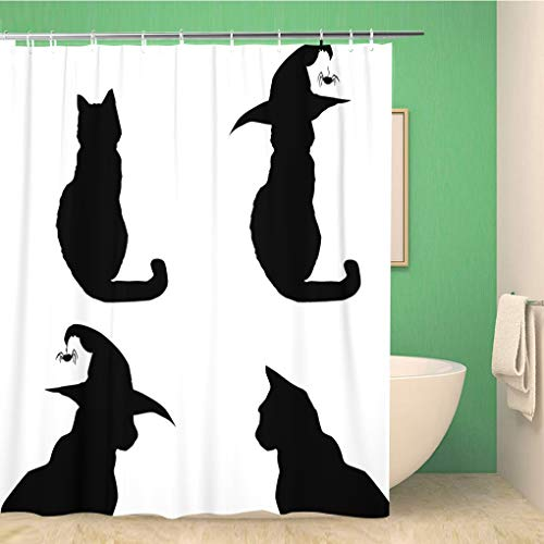 Awowee Bathroom Shower Curtain Animal Halloween Silhouettes of Black Cats Clip Autumn Beautiful Polyester Fabric 72x72 inches Waterproof Bath Curtain Set with Hooks