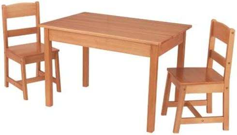 KidKraft Wooden Rectangular Table 2 Chair Set For Kids – Natural