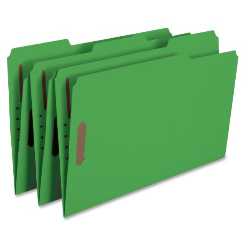 (Smead Fastener File Folder, 2 Fasteners, Reinforced 1/3-Cut Tab, Legal Size, Green, 50 per Box (17140))