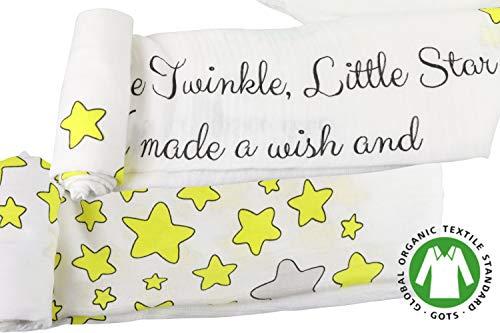 Ultra Soft Muslin Swaddle Blankets Organic Bamboo Cotton (Twinkle Little Star Moon)