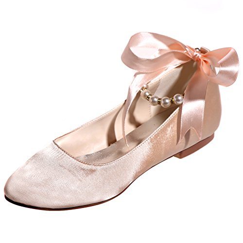 Loslandifen Dames Satijn Ronde Neus Flats Parels Enkelband Lage Hak Bruiloft Ballet Bruids Schoenen Champagne