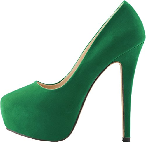 CFP YSE-817-1RB Womens Shallow Mouth Seasonless Leisure Lightweight Sweet Dating Office Wedding Party Cozy Spotlight Stiletto High Heel Pretty Shoes Thick Platform Round Toe Green sTo4J