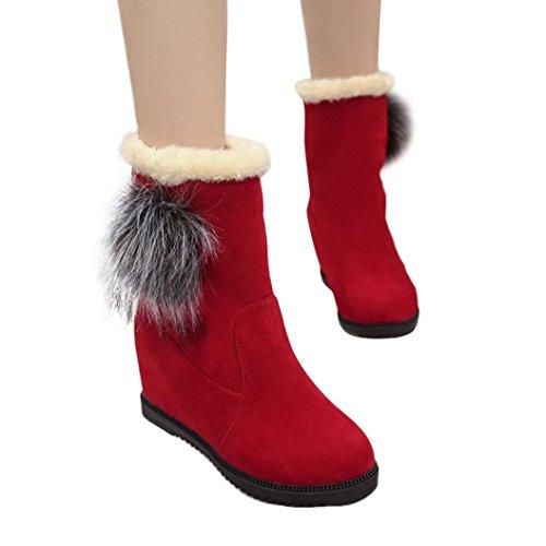 Botas Mujer,Ouneed ® Las botas de la nieve de las mujeres de la manera guardan los zapatos de invierno altos calientes Rojo