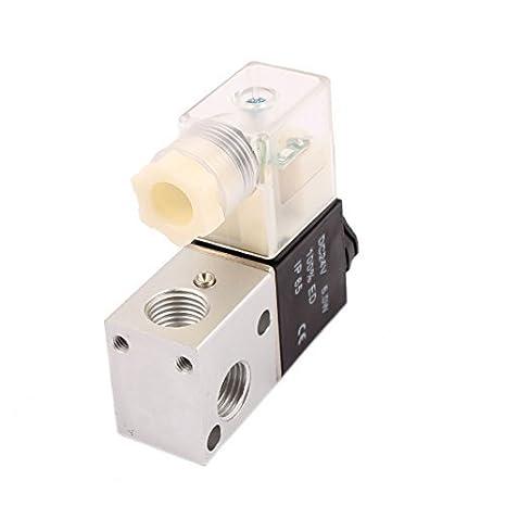 eDealMax 3V1-08 DC 24V NC 2 Posición 3 Way PT1 / 4 Tema Selector de aire Neutro válvula solenoide: Amazon.com: Industrial & Scientific