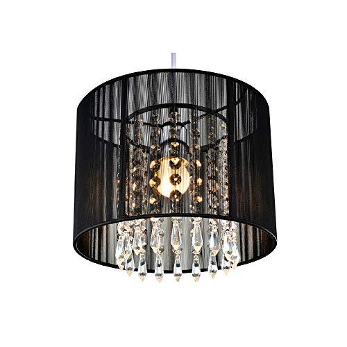 Windsor Home Deco WH-63270 Modern Crystal Black Pendant Lamp, Crystal Chandelier for Bedrooms Living Room Dining Room, Pendant Lighting