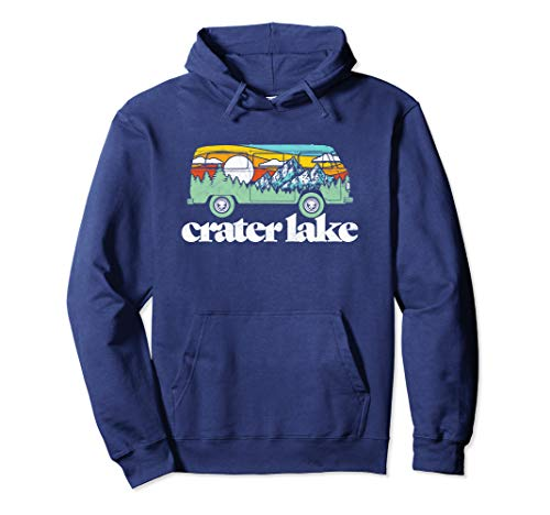 Retro Crater Lake National Park Hippie Van & Mountains   Pullover Hoodie (Crater Mountain Hoodie)