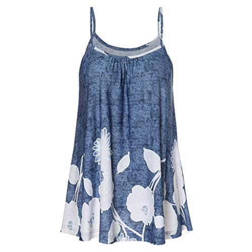 Sunhusing Women's Sexy Sleeveless Off-Shoulder Flower Print Camisole Top Strappy Casual Tank Tops ()
