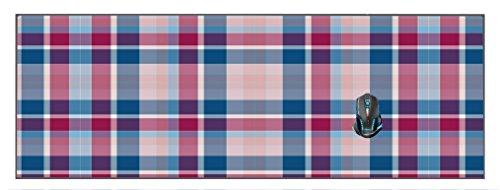 Flannel Plaid Textile Pattern Blue Red XL Mouse Pad 33.25