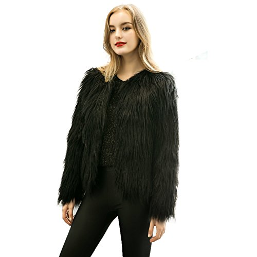 Caracilia Women Winter Warm Fluffy Faux Fur Coat Jacket Black Tag XL 37/Short