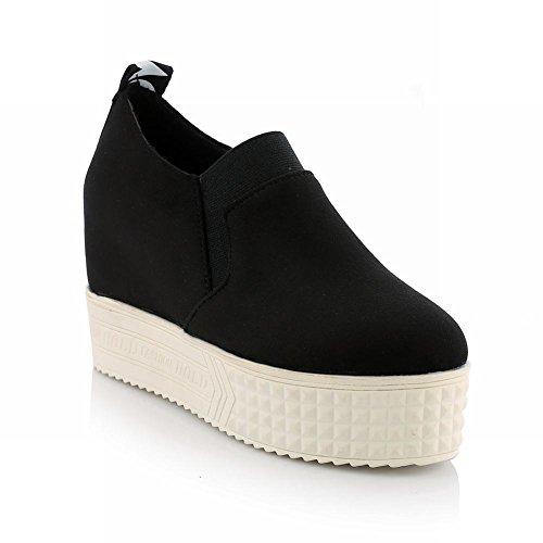 Latasa Womens Fashion Nubuck Letter Print Inside Mid Wedge Heel Slip on Platform Shoes, Ankle Boots Black