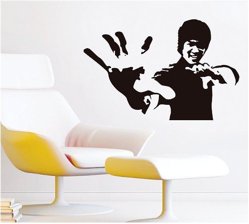 Homemate Home Decor Mural Vinyl Wall Sticker Celebrity Icons Kung Fu Star Bruce Lee Kids Nursery Room Wall Art Decal Paper