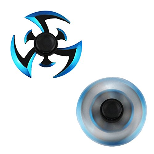 Nesee Creative Finger Spinner,NEW Alloy Hand Spinner Fidget Focus Toy Stress Reducer Relieve EDC Focus Gyro (1, Blue)