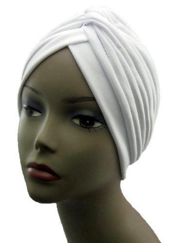 Turban WHITE Twist pleated Hair Wrap stretch turban Women's Head Wrap Cap Cover