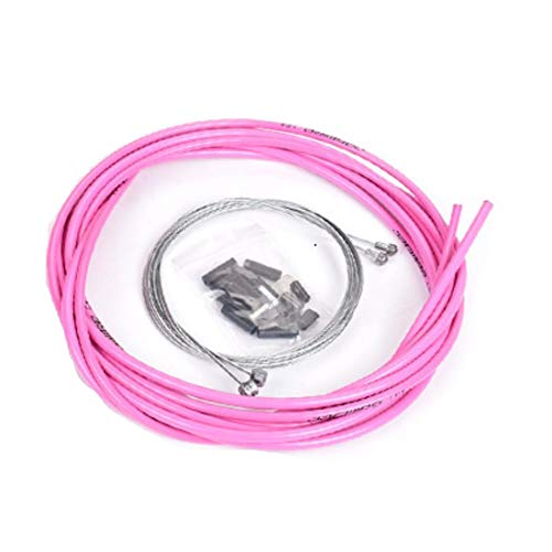 Brake Cable Housing Kit Mountain Bike Gear Shift Cable Brake Cable Wire and Cable End Crimps Bike Stainless Steel Replacement Wire Tubing Cover Set,Pink