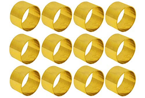 (SKAVIJ Brass Decorations Napkin Rings Set of 12 Gold Round for Weddings Dinner Parties or Every Day Use)