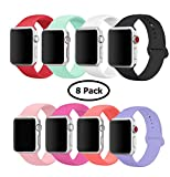 8 Pack Band for Apple Watch 38-40mm, Soft Silicone Sport Strap Replacement Bracelet Wristband for Apple Watch Series 4,3,2,1, Nike+, S/M Size