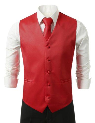 IDARBI Men's 3 Piece Dress Vest, Necktie and Handkerchief for Suit or Tuxedo RED10 L