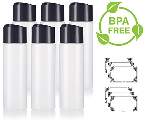 8 oz / 250 ml Professional Natural Clear Refillable Plastic Squeeze (BPA Free) Bottle with Wide Black Disc Cap Lid (6 pack) + Labels for Shampoo, Conditioner, Body Wash, Lotion, and more