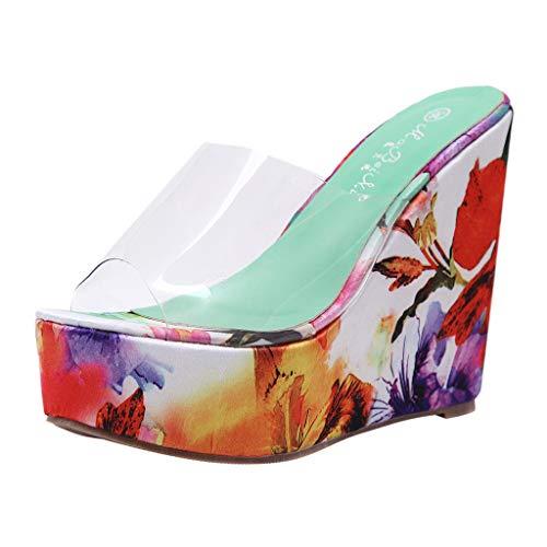 Lelili Women Summer Fashion Sandals Transparent Wedges Colorful Thick Bottom Slippers Flip-Flop