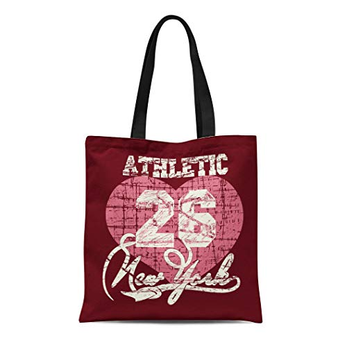 Semtomn Cotton Canvas Tote Bag Pink Jersey New York City Graphics Girls Number Academic Reusable Shoulder Grocery Shopping Bags Handbag Printed