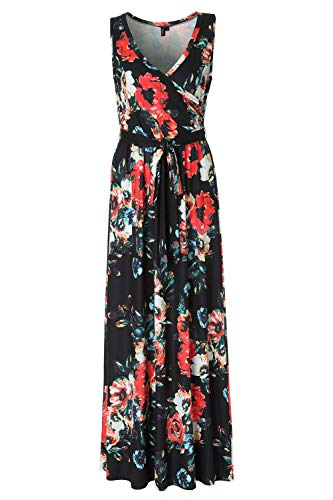 Zattcas Women's Summer Casual V Neck Faux Wrap Floral Maxi Dress with Belt,Black,X-Large