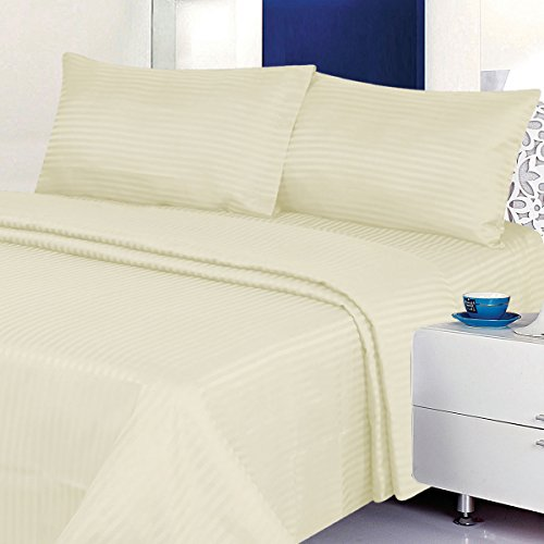 Deluxe Bed Sheet Set - 1800 Series 4 Piece - Deep Pocket - Cool & Wrinkle Free - 1 Fitted, 1 Flat, 2 Pillow Cases (Beige, King)