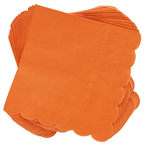 Juvale 100-Pack Bulk 2-Ply Scalloped Paper Cocktail Napkins, Orange, 5 x 5 Inches