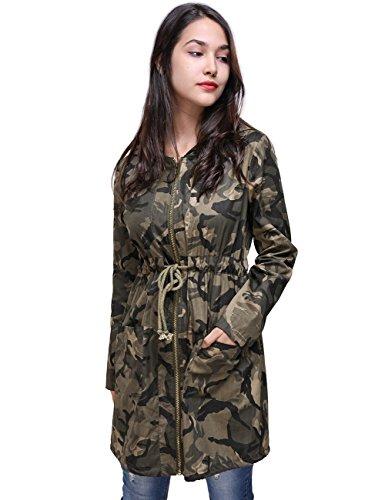 Fancyqube Women's Drawstring Waist Hooded Coat Lightweight Camouflage Long Windbreaker Jacket Outwear Multicolor, S (Womens Camo Rain Coats)