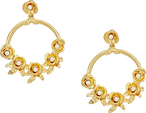 Kenneth Jay Lane Women's Satin Gold w/Flowers/White Pearl Center Hoop Pierced Earrings Satin Gold/Flowers/White Pearl One Size