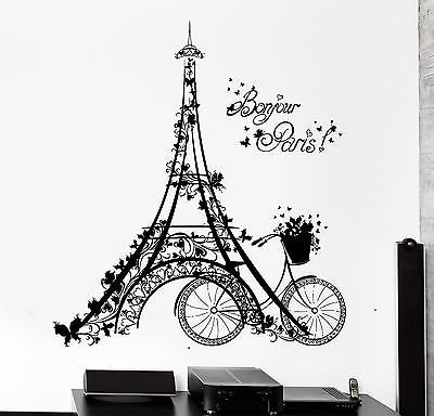 (Wall Decal Paris Eiffel Tower France Bicycle Love Vinyl Decal VS3112)