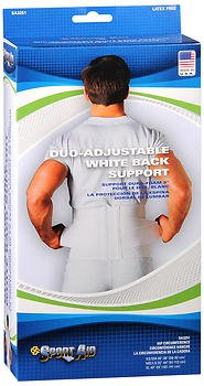 Sport Aid Duo-Adjustable White Back Support MD/LG - Each, Pack of 6 by SportAid