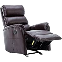 BONZY Glider Recliner Chair Leather Recliner with Super Comfy Gliding Track - Brown