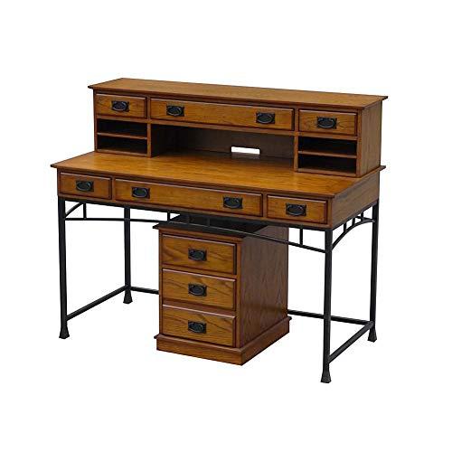 (Home Styles 5050-1521 Modern Craftsman Oak Executive Desk, Hutch and Mobile File, Chestnut/Metal)