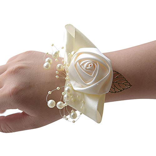 (Wrist Corsage, Pack of 2 Wedding Bridal Wrist Flower Corsage Hand Flower Decor for Prom Party Wedding Homecoming (8))