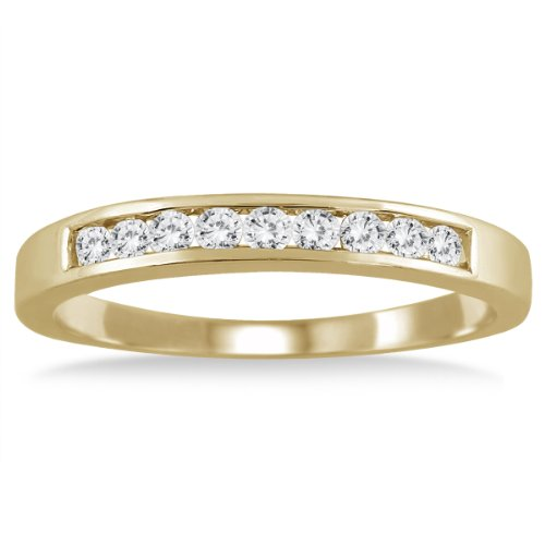 AGS Certified 1/4 Carat TW Channel Set Diamond Band in 10K Yellow Gold (K-L Color, I2-I3 Clarity) (Channel Tw Set)