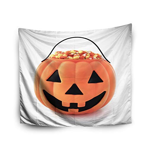 Tapestry Wall Hanging,Jacrane Art Tapestries With 60X50 Inches Jack O Lantern Filled Candy Corn Candy A White Background For Dorm Bedroom Living Home Decor ()