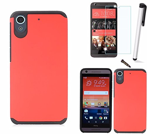 - For HTC Desire 626 / HTC Desire 626S Dual Layer Fusion Armor Hybrid Silicone Cover Hard Plastic Case+[WORLD ACC®] LCD Screen Protector+Stylus+Dust Cap Free Gift (Red/Black)