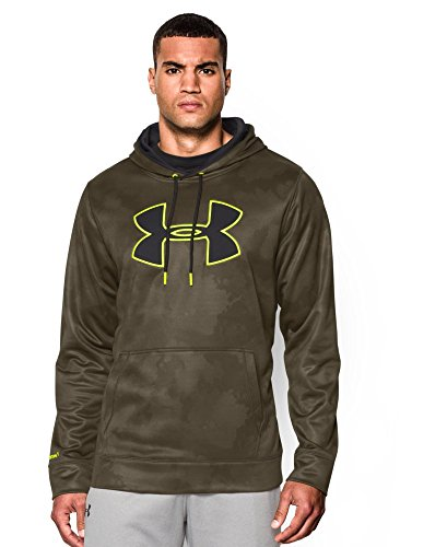 Under Armour Men's Armour Fleece Big Logo Pattern Hoodie, Large, Marine Od Green/Black/High-Vis Yellow