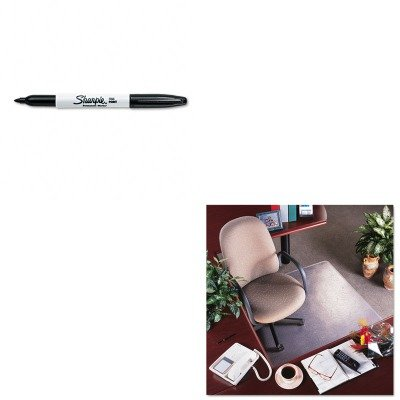 KITDEFCM15113SAN30001 - Value Kit - Deflect-o RollaMat Vinyl Chair Mat for Med Pile Carpet (DEFCM15113) and Sharpie Permanent Marker (SAN30001)