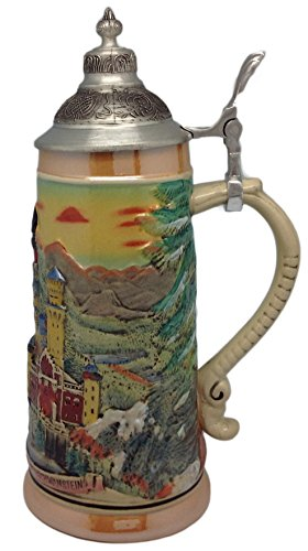 - Scenic Germany Ludwig's Castle Collectible Engraved Beer Stein with Ornate Metal Lid