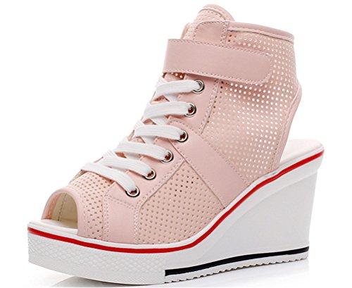 Aas Schok Wiggen Sandalen Vrouwen, Peep-toe Zomer Casual Mesh Platform Sneakers 6 Kleuren Roze