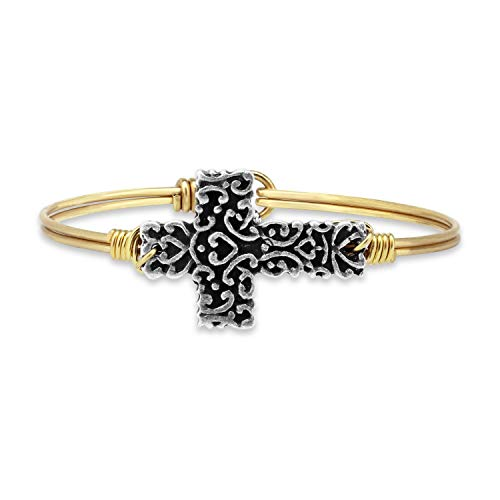 Luca + Danni Ornate Cross Bangle Bracelet - Petite/Brass Tone
