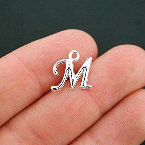 (6 Letter M Charms Antique Silver Tone Cursive Alphabet for Pendant Bracelet DIY Jewelry Making)