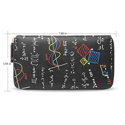 Women Math Linear Equations Black Leather Wallet Large Capacity Zipper Travel Wristlet Bags Clutch Cellphone Bag