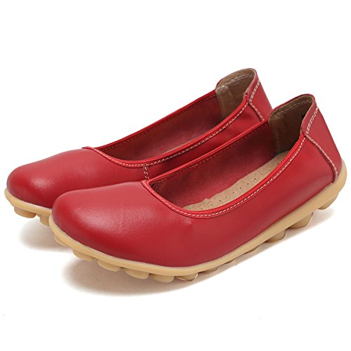 CIOR Damen Echtes Leder Loafers Casual Mokassin Fahr Schuhe Indoor Flache Slip-On Hausschuhe rot