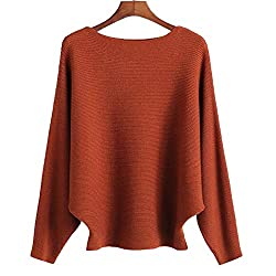 Ckikiou Women Sweaters Batwing Sleeve Casual Cashmere Jumpers Winter Pullovers Caramel One Size