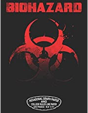 """Biohazard Hexagonal Graph Paper And College Ruled Line Paper 120 Pages – 8.5"""" X 11"""": Combination Of Two Papers - Unicode Biohazard Symbol Design For Organic Chemistry Science Composition Notebook Biochemistry Student Lab Note Book"""