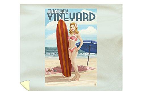 (Lantern Press Martha's Vineyard, Massachusetts - Pinup Girl Surfer 42774 (88x104 King Microfiber Duvet Cover))